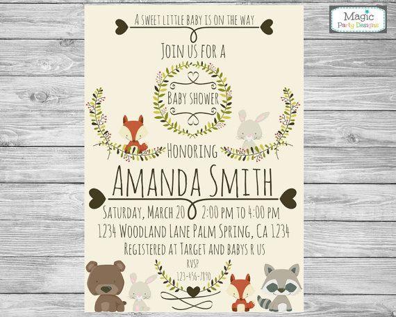 Woodland invitation, woodland baby shower invitation, forest baby shower, fox baby shower invitation, rabbit baby shower invitation