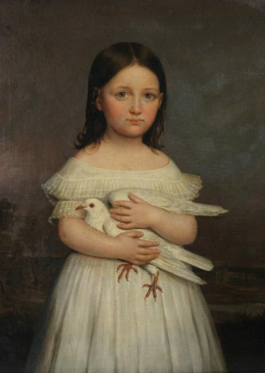Girl Holding Dove, Jacques G. Lucien Amans (1801-1888)