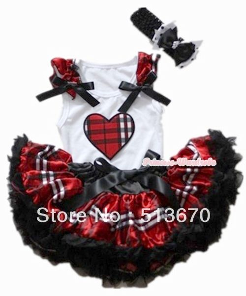 Черный красный проверка плед юбка с валентина плед в форме сердца рюшами с бантом и черный повязка на голову с с бантом MANG1126