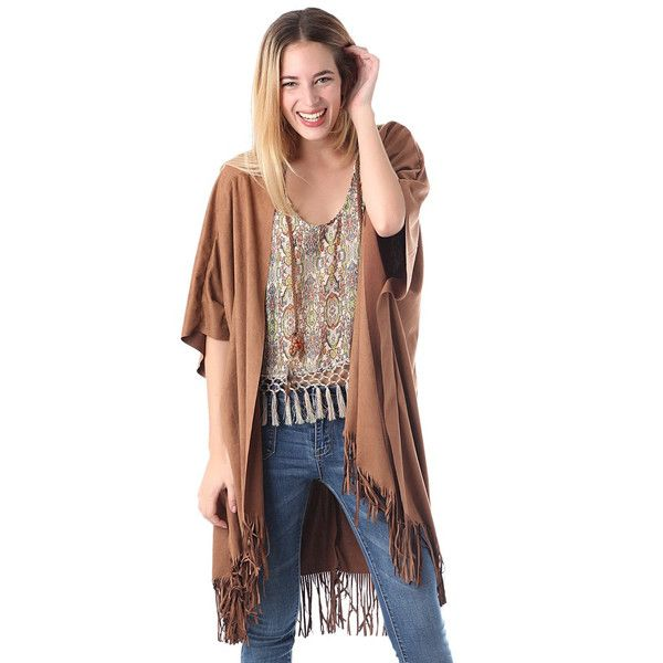 The Suede Fringe Jacket with asymmetrical hem and fringe trim.Open front wide sleeves and fringed bottom. Two braided ornaments on the front. 97% Polyester 3%