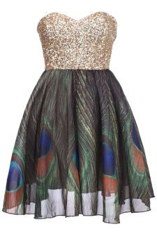 "ROMWE   Golden Sequin ""Bandeau Peacock "" Dress"