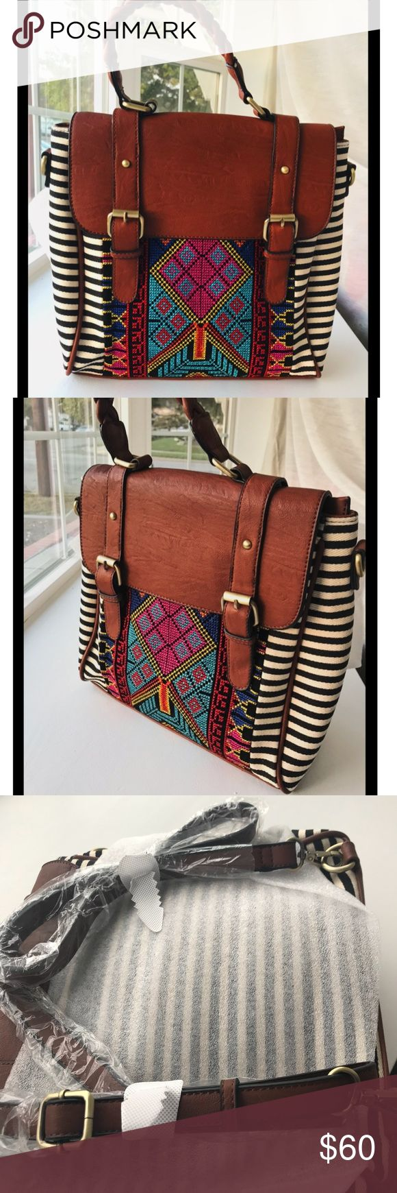 """Back in Stock! Satchel Bohemian Style ✨✨✨✨ Brand New. Convertible. Medium Size Satchel with Aztec inspired design.  Durable with canvas and faux leather.  Bohemian Satchel for everyday use.  Convertible Satchel -can be used as a backpack as well.   12"""" W x 6"""" D x 11.5"""" H ✨✨✨✨✨✨✨ High Quality! MMS Design Studio Bags Satchels"""
