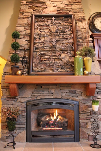 cute mantel decor but whites and blues