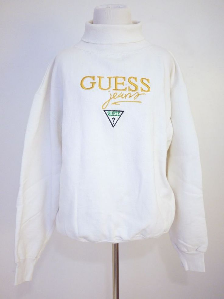 Vtg 90s GUESS Jeans H Wolf & Sons White Turtleneck Sweater Pullover XL #94 #HWolfSons #TurtleneckMock