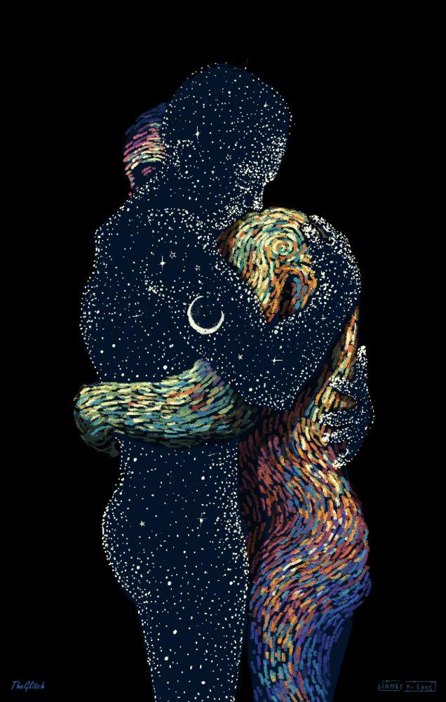Inspiré des œuvres de Van Gogh, James R. Eads anime des formes humaines et matérielles sur fond psychédélique, qu'on peut aussi désigner comme du Glitch...