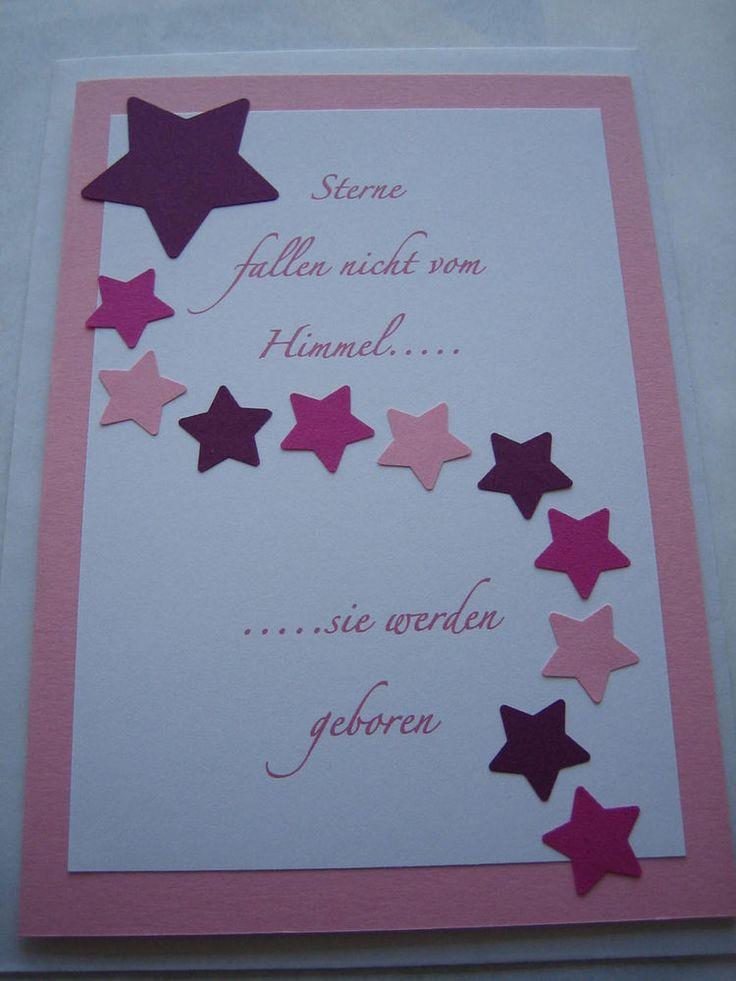 Karte zur Geburt Glückwunschkarte Baby Mädchen Handarbeit Rosa Sterne NEU Mehr