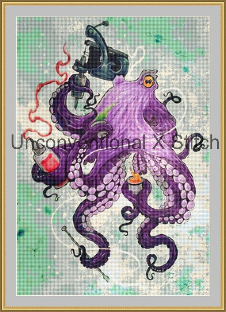 Octopus tattoo Artist cross stitch pattern - Muse modern counted cross stitch pattern by UnconventionalX on Etsy