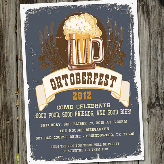 Oktoberfest Bier Beer Party Printable Invitation by partymonkey, $15.00