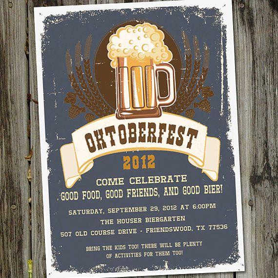 Oktoberfest Bier Beer Party Printable Invitation