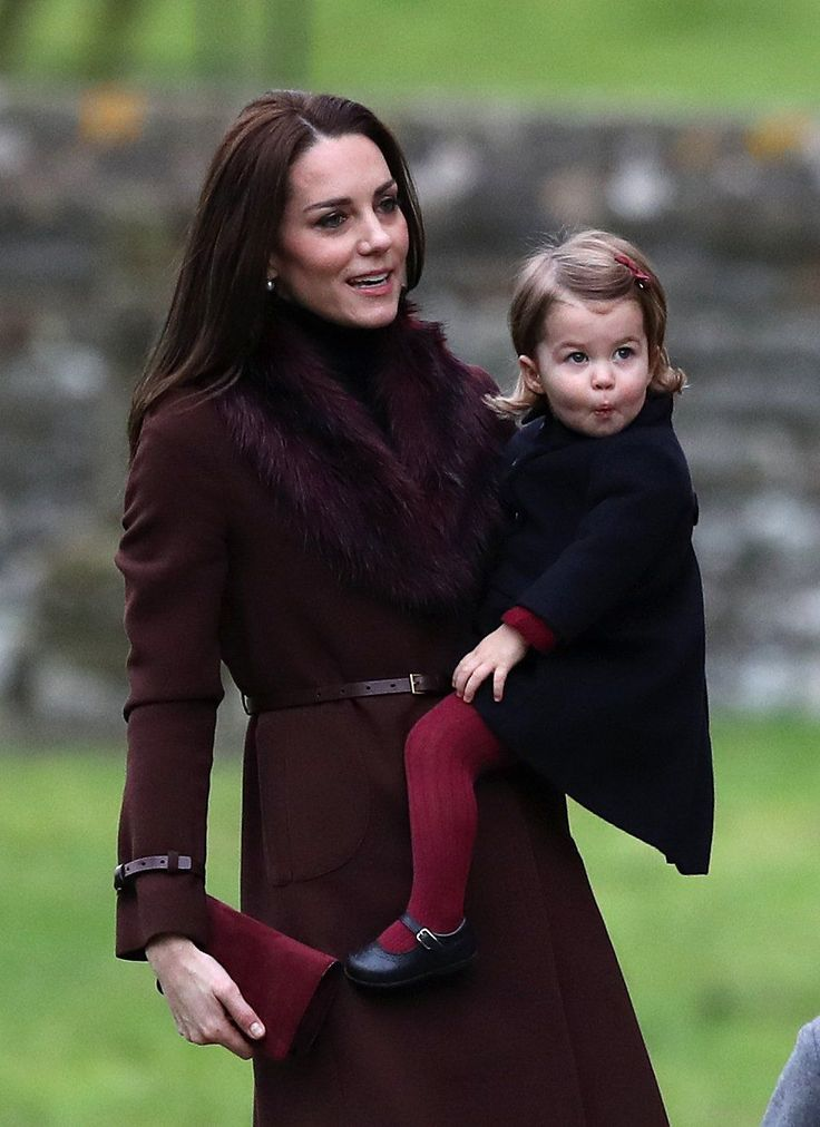 The Duchess of Cambridge and Princess Charlotte arrive to attend the morning Christmas Day service at St Mark's Church in Englefield, Berkshire. PRESS ASSOCIATION Photo. Picture date: Sunday December 25, 2016. See PA story ROYAL Christmas. Photo credit should read: Andrew Matthews/PA Wire