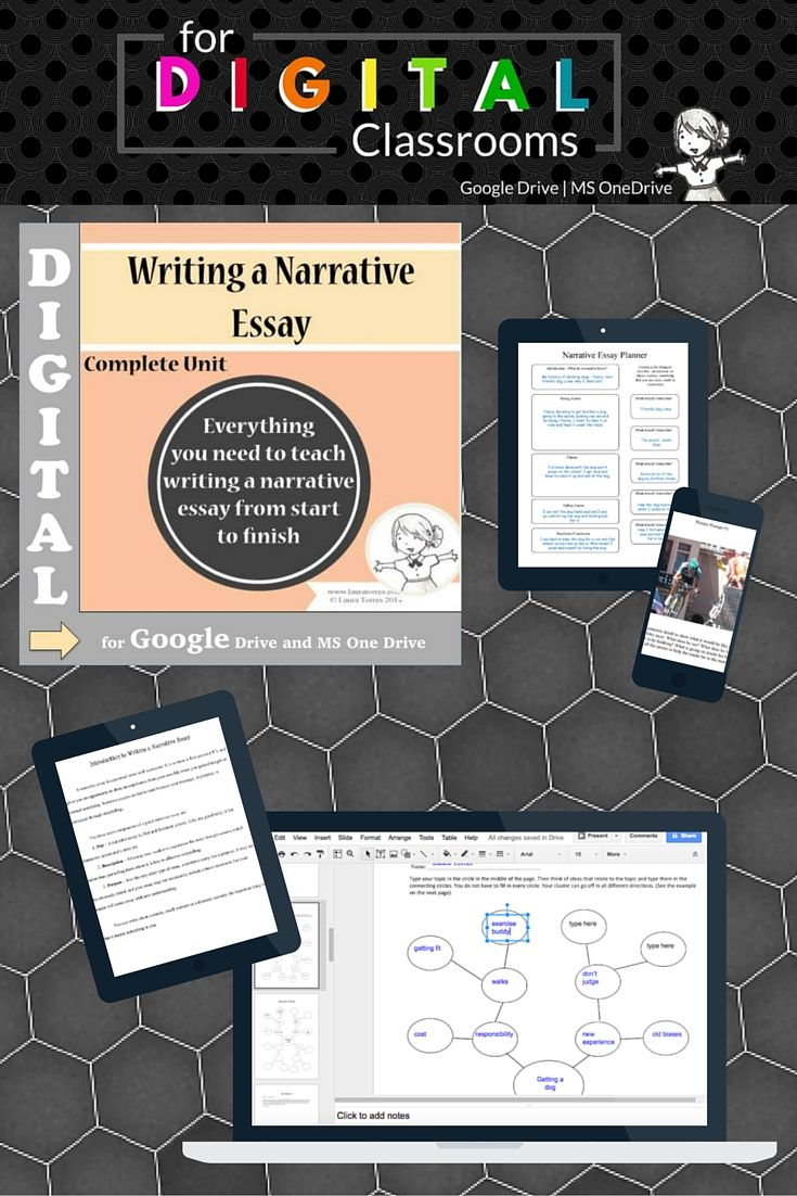 Go Paperless! Digital For Google Drive and Google Classroom. This unit has everything you need to teach a narrative essay from start to finish. Useful for narrative writing for all grades seventh and up. There 29 pages jam-packed with lesson plans, worksheets, handouts, group work, picture writing prompts, graphic organizers and more! A sample essay is included. $