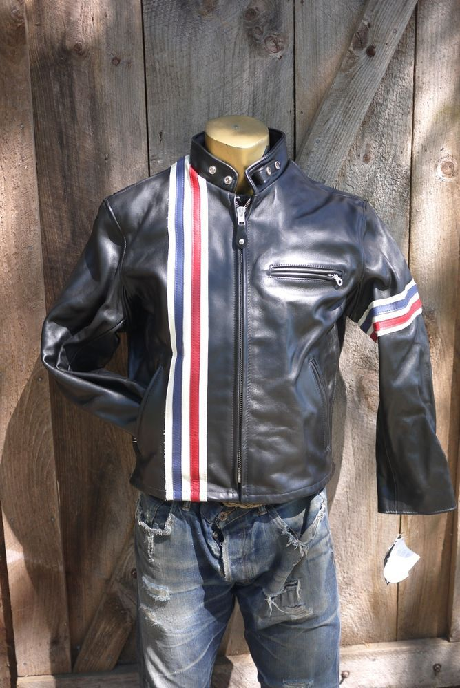 schott perfecto 671 cafe racer with stripes leather jacket made in