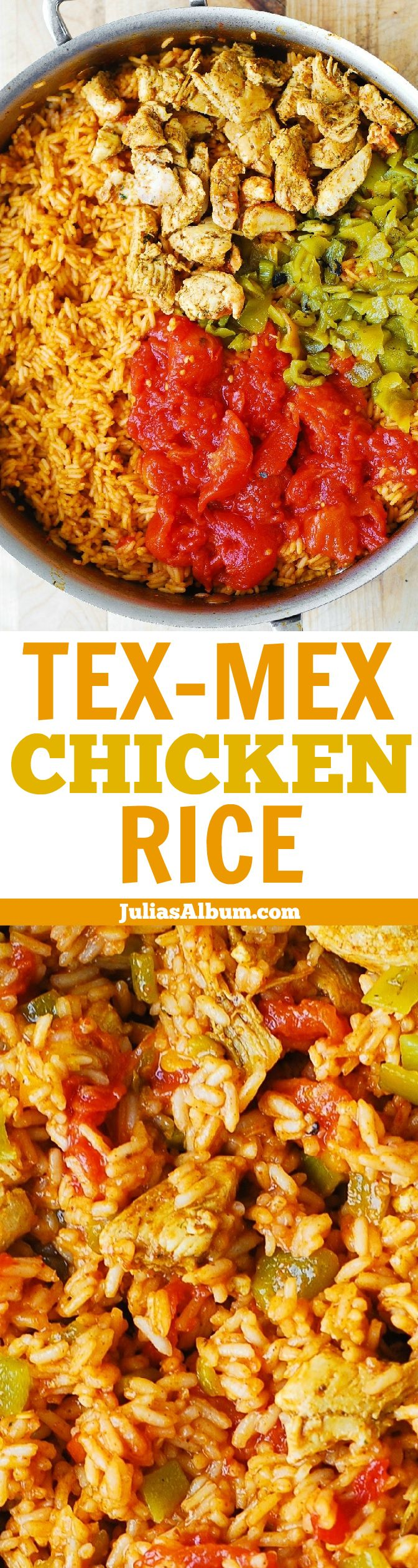 Tex-Mex Chicken and Rice Skillet with Southwestern flavors you love: chili powder, cumin, diced green chiles. #BHG #sponsored