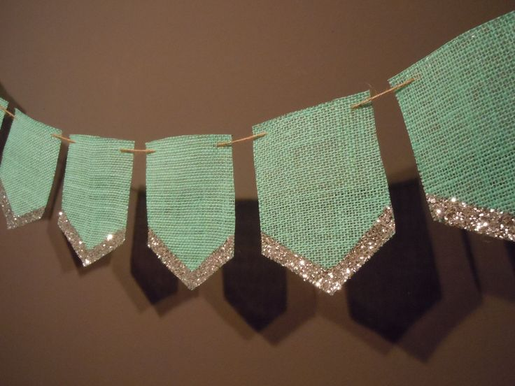 tiffany blue burlap pennant banner for wedding or party decoration with goldsilver glitter edge