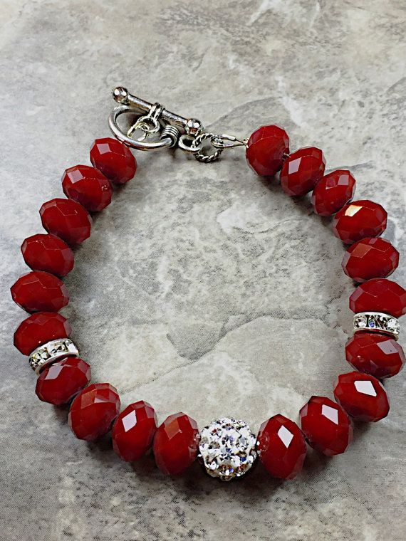 Dark red bracelet Red jewelry red beaded by Luzjewelrydesign