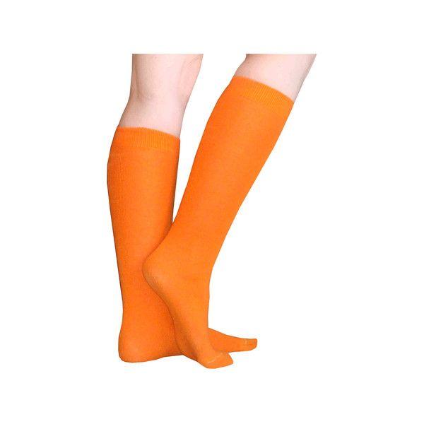 Thin Solid Orange Socks (£1.37) ❤ liked on Polyvore featuring intimates, hosiery, socks, knee length socks, knee high hosiery, knee high socks, thin socks and orange knee high socks