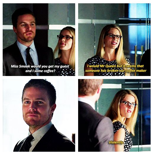 "Felicity and Oliver - 2.02 ""Identity"" ❤ ""Miss Smoak, would you get my guest and I some coffee?"" :)) ❤"