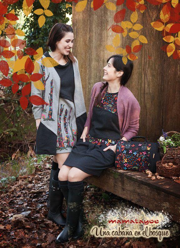 [Left] Dress: Nemorosa / Coat: Borbonesa. [Right] Dress: Piorno / Cardigan: Milamores / Bag: Crocus. www.mamatayoe-shop.com