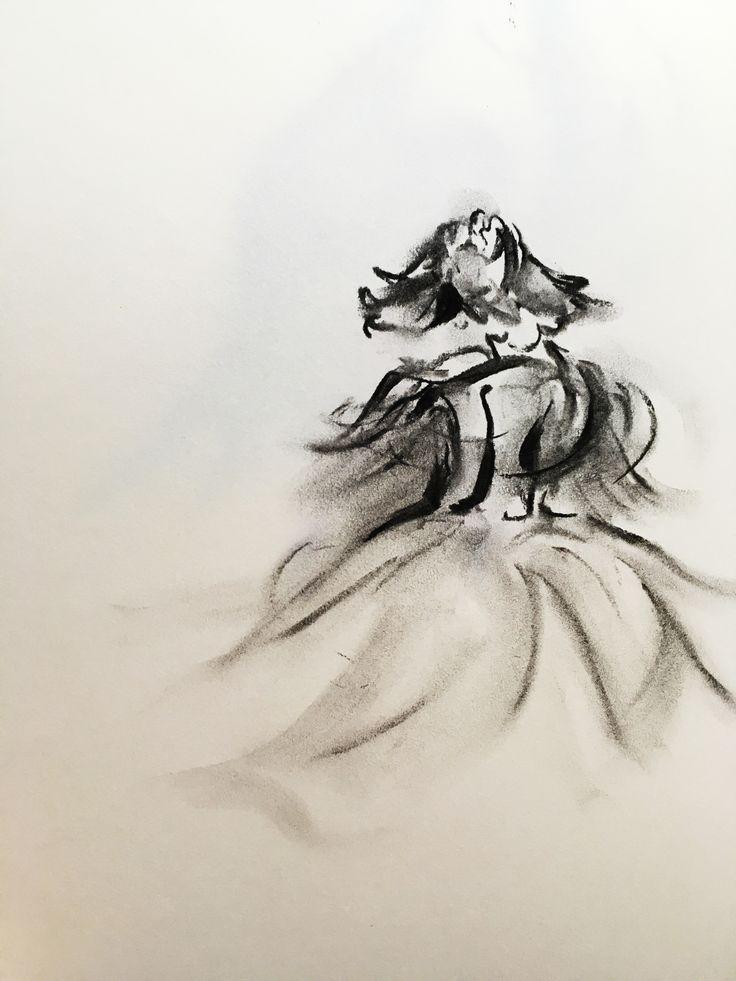 드레스를 입고 춤추며 회전하는 여인. 목탄