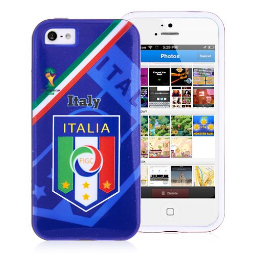 2014 FIFA World Cup FIGC Badges TPU Back Cover for iPhone 5 5S - Dark Blue #fifa #cases #iphone5 #football #worldcup