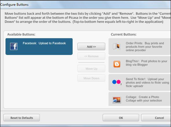 configure button picasa to facebook
