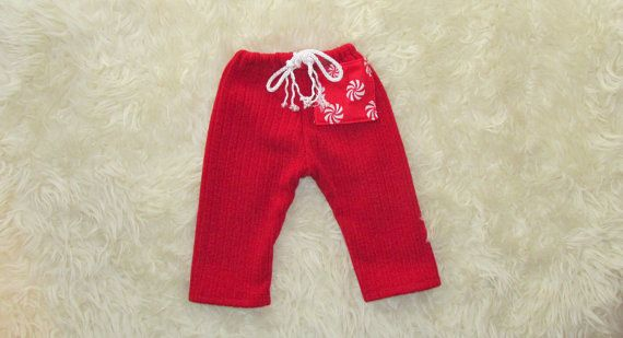 Red Newborn baby boy xmas style trousers photography prop with
