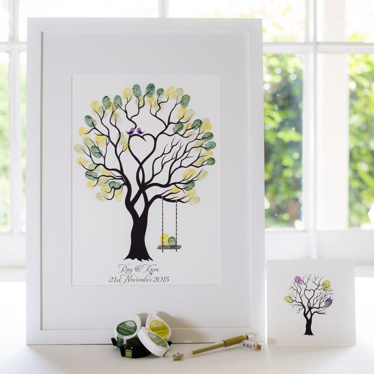 Unity Tree + swing - Purple birds guest book for Wedding, funeral or other celebration. Illustrated by Ray Carter - The Fingerprint Tree® Made-to-order, ships worldwide. The Fingerprint Tree®, bespoke gifts you'll treasure!