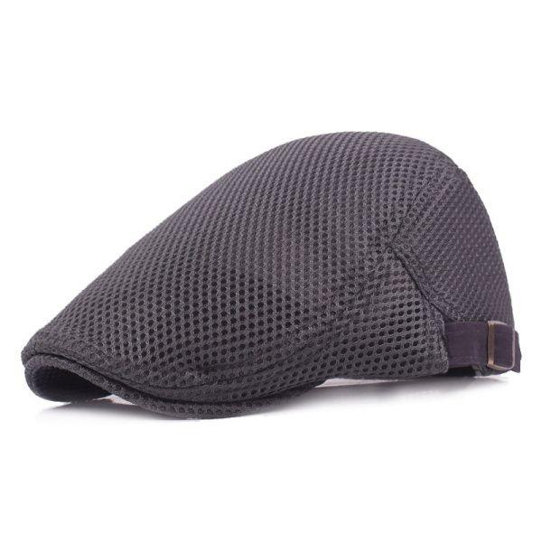 Mens Summer Mesh Breathable Beret Cap Fashion Outdoor Sport Solid Visor Hat