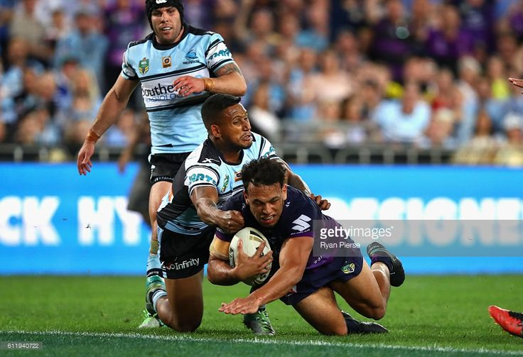 William Chambers of the Storm scores a try during the 2016 NRL Grand Final match between the Cronulla Sutherland Sharks and the Melbourne Storm at ANZ Stadium on October 2, 2016 in Sydney, Australia.