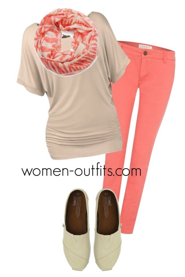 beige and coral casual by xwtiko on Polyvore featuring Brakeburn