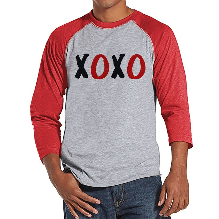 Men's Valentine Shirt - Mens XOXO Valentines Day Shirt - Valentines Gift for Him - Hugs & Kisses - Funny Happy Valentine's Day - Red Raglan