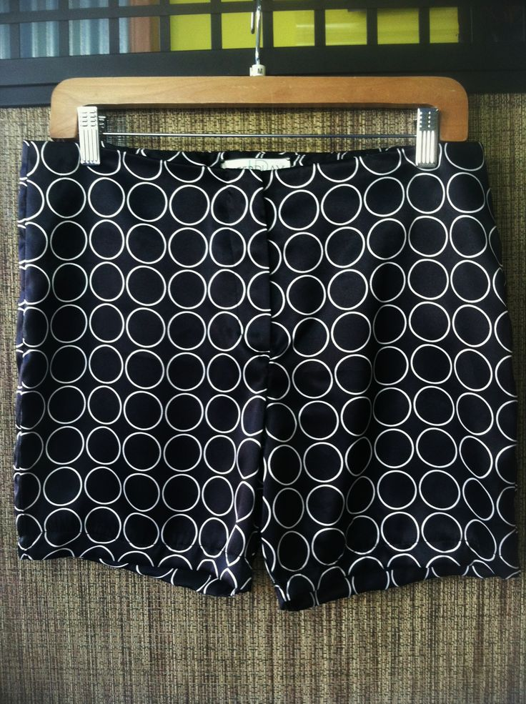 Barbra - Sleek and modern satin circle short - Color Black/White - Size Small - Price $88.00 - Call Us: 646-284-5049