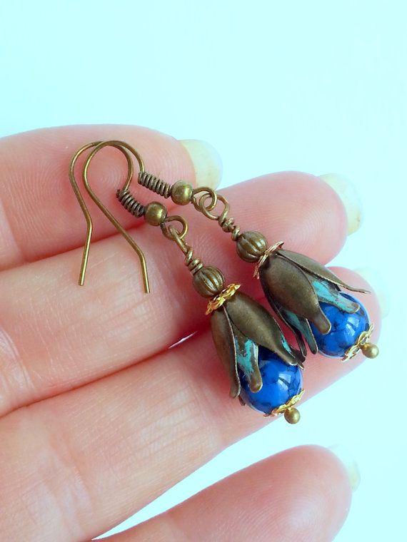 Blue flower Earrings,blue Dangle Earrings,delicate earrings,Flower earrings,Blue jewellery,Gift for her,gift for girl, small flower earrings, gift for wife