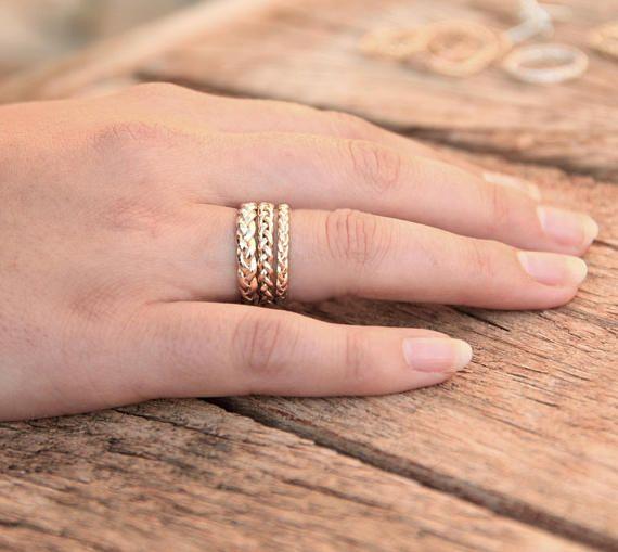 Anillo trenzado trenzado amarillo anillo de oro anillo de