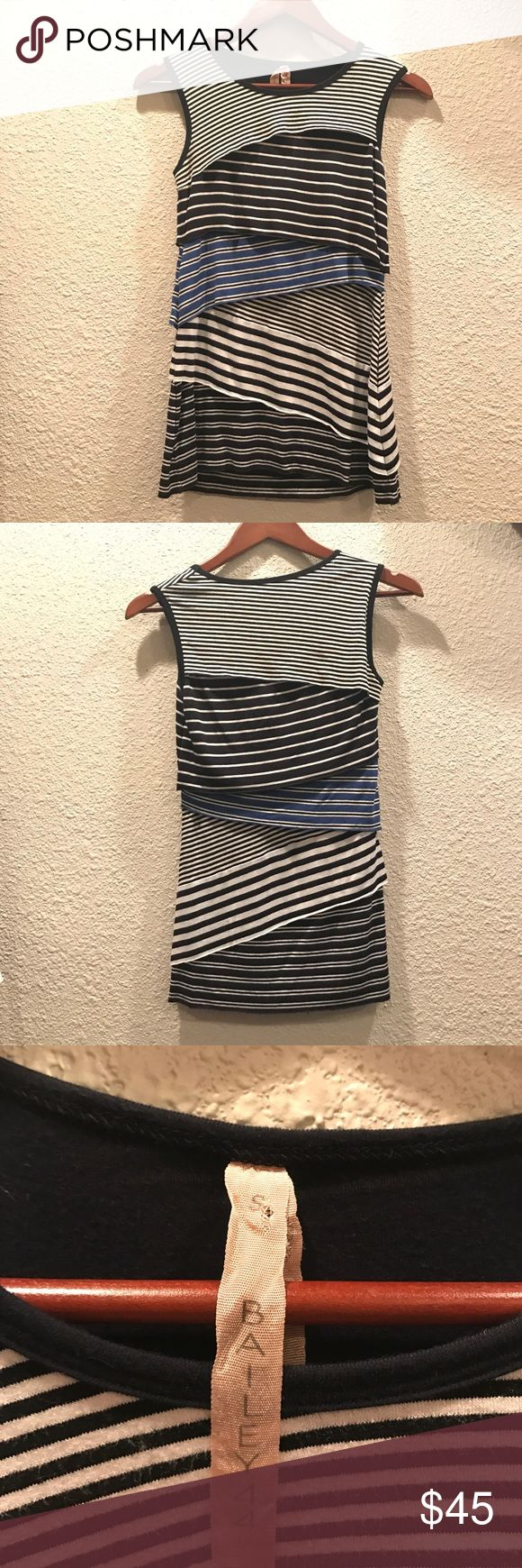 Bailey 44 Tiered Striped Tank Super cute tiered striped tank by Bailey 44. Perfect for spring and summer. Features 96% rayon and 4% spandex, dry clean only, tiered layers in a variety of striped patterns in navy and brighter blue. Feel free to ask any questions Anthropologie Tops