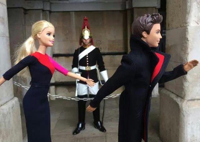 Barbie and Ken in their new Qantas Uniforms Frolic in London/Qantas