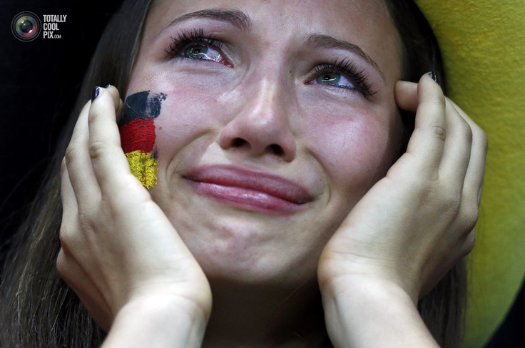 Germany soccer fan cries after Italy won the Euro 2012 semi-final soccer match against Germany at the National stadium in Warsaw. PETER ANDREWS/REUTERS