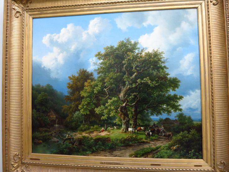 Barend Cornelis Koekoek - zomerlandschap 1837  Tijdens ons bezoek aan Boijmans en Beuningen viel ons oog op dit schilderij. Dit schilderij is een schilderij gemaakt tijdens de romantiek, wat voor ons de pure vorm van romantiek vertelde.  In dit schilderij zit arbeid, verheerlijking van een natuurlijk landschap, puurheid en allemaal individuele verhalen.