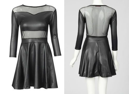 New Womens Sexy Celebrity Style Leather Look Wet Look Mesh Skater Dress