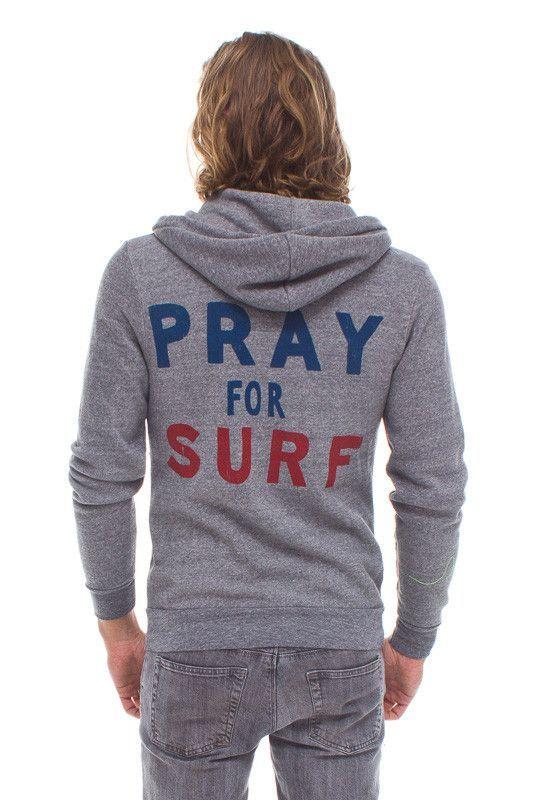 PRAY FOR SURF HOODIE - HEATHER GREY