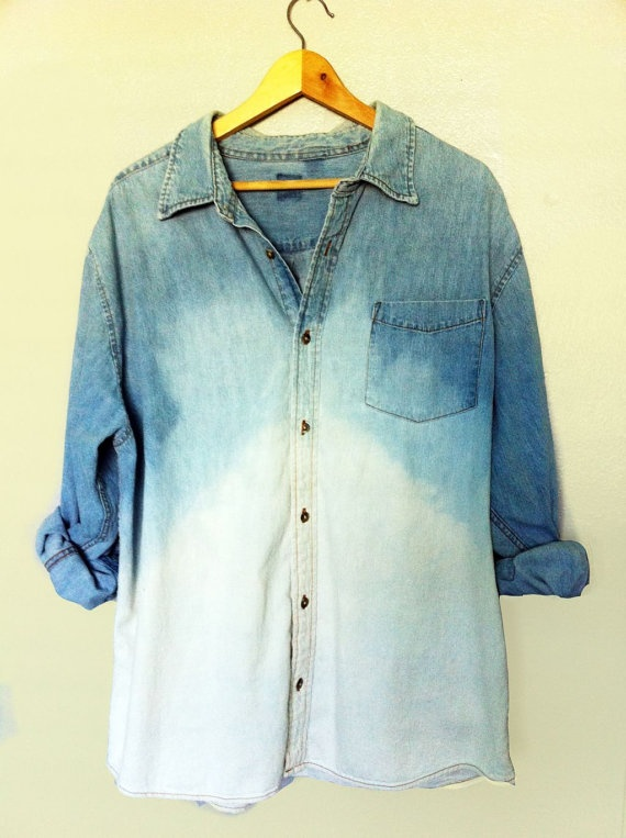 mmmDips Dyed, Ombre Bleach, Dips Dyes, Denim Shirts, Ombre Denim, Ombré Denim, Ombré Jeans, Grunge Fashion Diy, 90S Grunge
