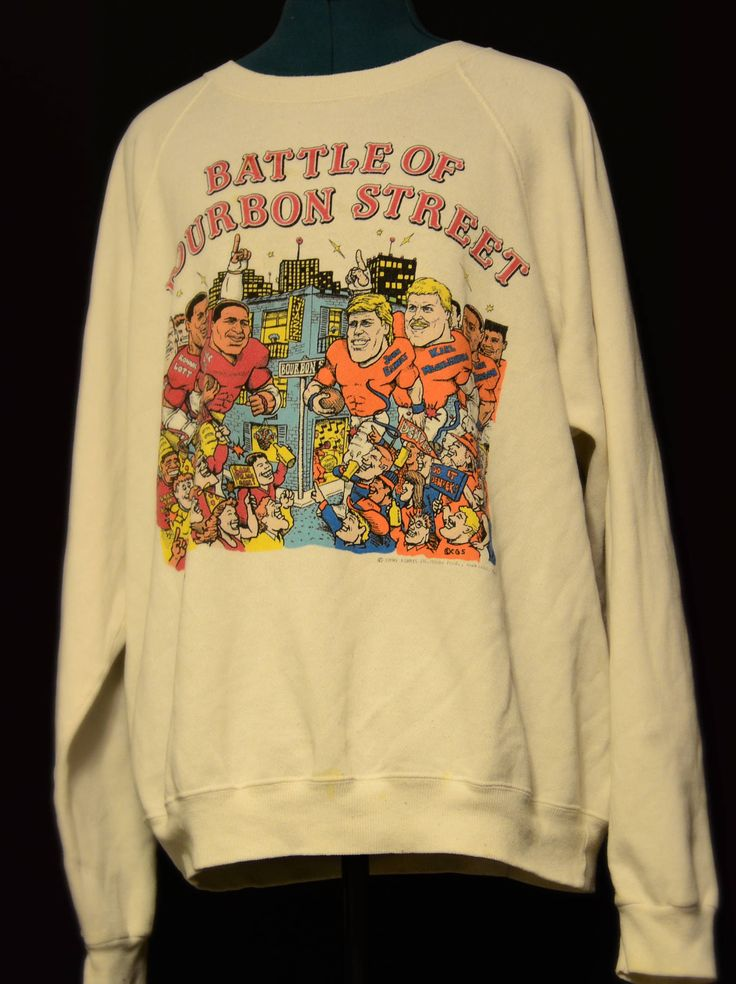 1990s,Rare,Football Humor,Cartoon,Sweatshirt,Battle of Bourbon,Forty Niners,Denver Broncos,Ronnie Lott,John Elway,Roger Craig,Football,Funny by SerialMateriaL on Etsy
