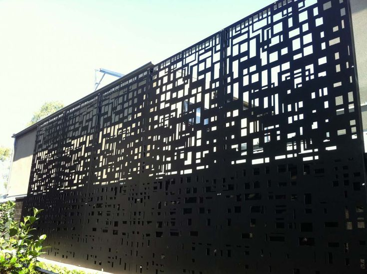 Metal Architectural Screen Wall : Privacy screens in black anodised aluminium city scape