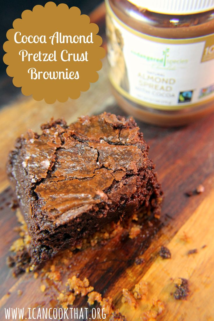 Cocoa Almond Pretzel Crust Brownies Recipe | I Can Cook That