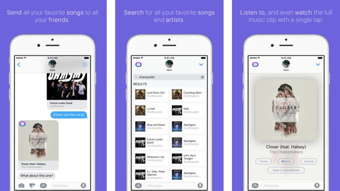 SoundShares new iMessage app lets you text your friends entire songs