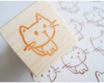 Cute little cat stamp, Handmade kitten stamp, animal stamp, Kawaii cat, Rubber stamp, Neko