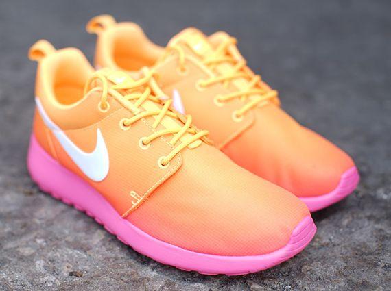 womens nike roshe run speckle yellow orange