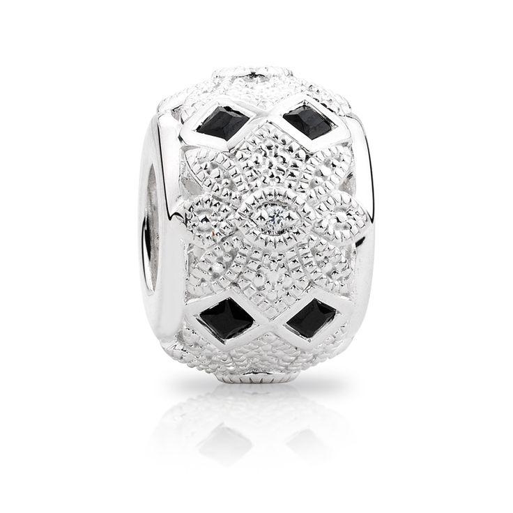 Sterling silver diamond set  cubic zirconia charm (11990000) #emmaandroe #artdeco