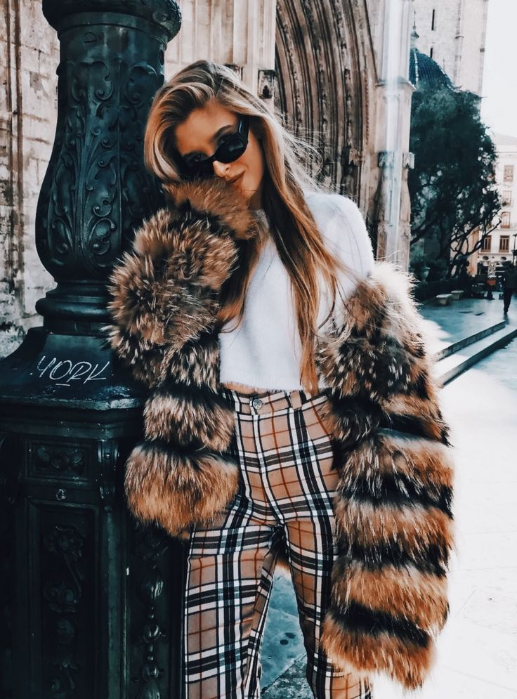 Love the sweater and fur coat. <3  The Burberry is nice and brings it together but tbh it's really just plaid.. and I simply cannot see myself wearing plaid pants xD