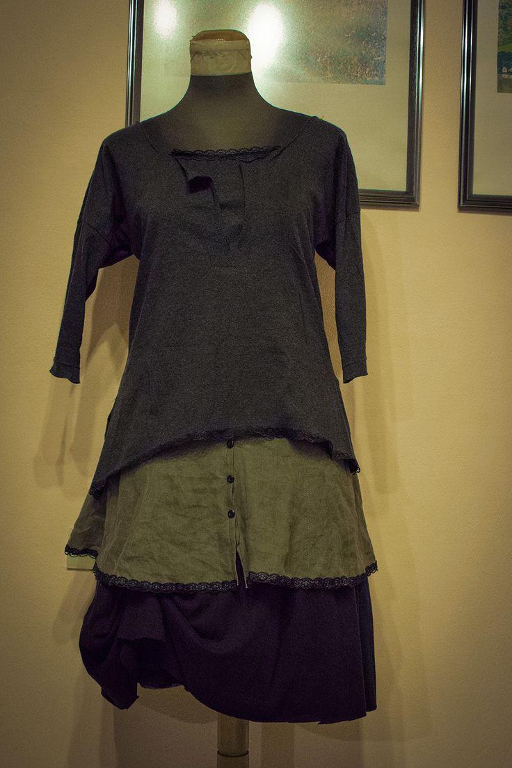 Boho-Bohemian Dress, Linen, Visose, Black, Green, Grey Handmade Upcycled clothes Repurposed